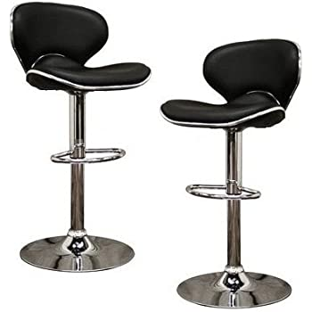 d455d91b997a 2 Black Modern Adjustable Counter Swivel Pub Style Bar Stools / Barstools ( Black)