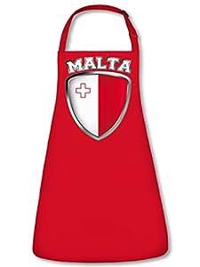 Malta Fan Delantal Delantal, delantal con cuello ajustable VERS. Colores golebros, 100 % algodón, rojo, Unisex