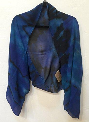 Lorie McGirr Shrug - Blue Reverse Shibori Chiffon 60''x20''