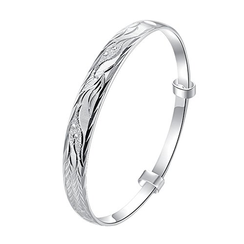 BODYA Silver plated 8mm floral leaf bangle bracelet lucky wristband Women Girls 7.5
