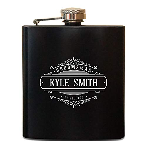 Monogram Groomsmen Flask, Personalized Flasks for Men, Custom Engraved Monogram Hip Flask Gift for Men, Boyfriend -