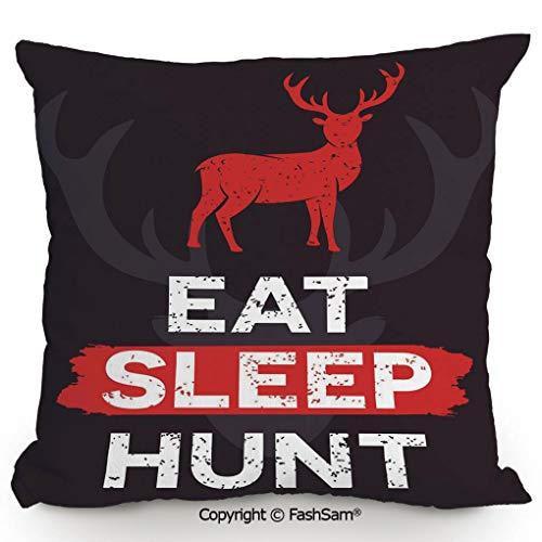 FashSam Polyester Throw Pillow Cushion Eat Sleep Hunt
