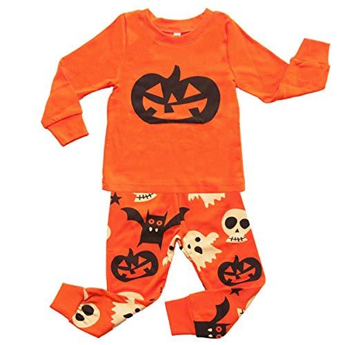 DGAGA Boys Girls Pajamas Halloween Pumpkin Face Sets Children Soft Cotton Pjs Set 2 Piece Sleepwear for 2-7 Years(7T) -