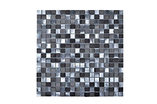 Legion Furniture MS-ALUMINUM19 Mosaic With Mix Aluminum Wall Tile, Gray/Silver by Legion Furniture (Image #1)