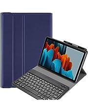 حافظة لوحة مفاتيح Fegishilly لجهاز Galaxy Tab S7 FE، غطاء نحيف مغناطيسي قابل للفصل لوحة المفاتيح اللاسلكية حامل S مع ملصقات لوحة المفاتيح العربية (أزرق)