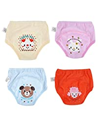Anti Leakage Diaper, 4Pcs Anti Leakage Baby Cartoon Training Pants 4 Layers Waterproof Toddler Diaper Pant(90)