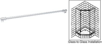 CRL Satin Chrome Frameless Shower Door Fixed Panel Glass-To-Glass Support Bar for 3 8 to 1 2 Thick Glass