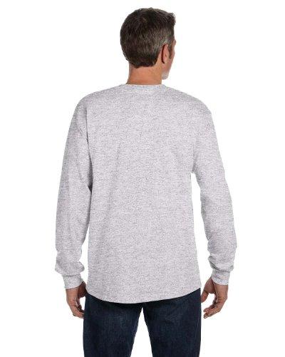 Hanes Mens Tagless Long-Sleeve T-Shirt With Pocket Ash