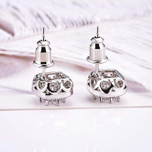 Stud Earrings, Silver Plated Rhinestone Crystal Halo Cubic Zircon for Women Earring (E001-S)