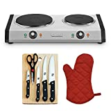 Cuisinart Cast-Iron Double Burner Stainless Steel (CB-60) with Home Basics 5-Piece Knife Set with Cutting Board & Deco Gear Red Oven Mitt Heat Resistant