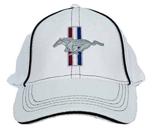 Ford Mustang Gt Cap - Fitted Flexfit Fine Embroidered Hat - White, L/XL