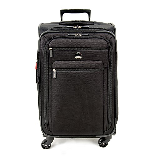 (Delsey Luggage Helium Sky 2.0, Medium Checked Luggage, Spinner Suitcase, Black)