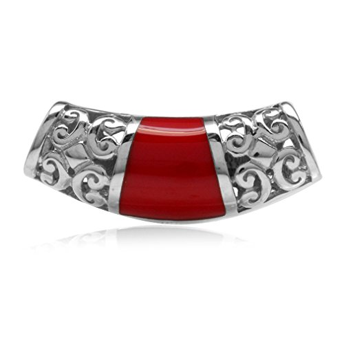 Jewelry Inlay Pendant Slide (Created Red Coral Inlay White Gold Plated 925 Sterling Silver Filigree Slide Pendant)