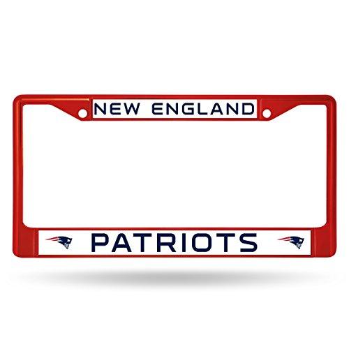 NFL England Patriots Team Colored Chrome License Plate Frame, Red