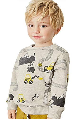 Little Boys Cotton Cute Digger Crew Neck Long Sleeve Sweatshirt Tops 3t