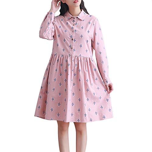 Risvolto Revers A Pink Bavero color Bambina Haxibkena Cotone Xxl Pink Di Gonna Maniche In Lunghe Arder Per Donna Size FqSEzwS