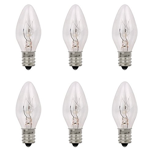 Venhoo 7 Watt Himalayan Salt Lamp Light Bulbs Replacement Incandescent Candelabra Bulbs for Night Lights E12 Socket-7 Pack