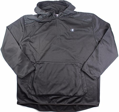 - Champion Men's Big and Tall 1/4 Zip Performance Pieced Hoodie (Black, XLT)