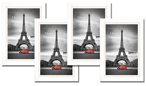Pine Wood Picture Frame - Hall of Frame 4 Value Pack of 12 by 18-inch Real Solid Pine Wood Photo Frames, Tempered Glass, with Acid-Free Off-White Core Mat Board for 11x17 Photos, Comes in 2 Colors: (White)