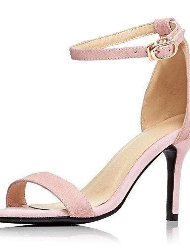 LFNLYX Zapatos de mujer-Tacón Stiletto-Punta Abierta-Sandalias-Boda / Vestido / Fiesta y Noche-Cuero-Negro / Rosa Black