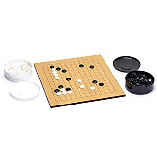 Yellow Mountain Imports Go Game Set with Reversible (13x13/9x9) 0.4 Inch-Thick Etched Beechwood Veneer Go Board and Single Convex Melamine Stones