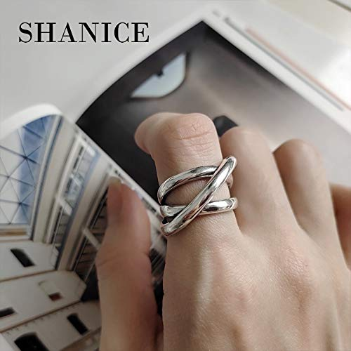 - Korean 925 Sterling Silver Rings | Heavy Industry Geometric Multi-Layers Lines Weave Femme Punk Rings Accessories