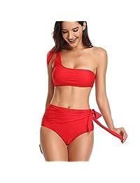 Advoult Bikini de cintura alta para dama, traje de baño de dos piezas, traje de baño de un hombro