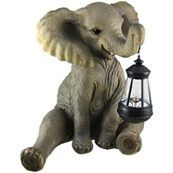 Cute African Elephant Porch / Garden Statue W/ Lantern by Things2Die4