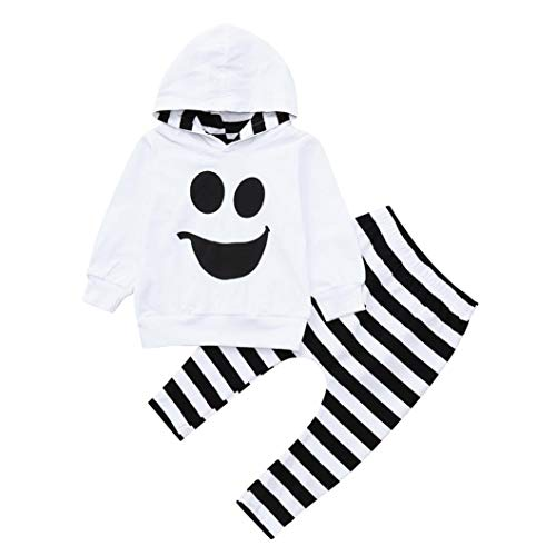 Lucoo Toddler Baby Boys Girls Hooded Tops Pullover Striped Pants Halloween Outfits Set (White, 4T)