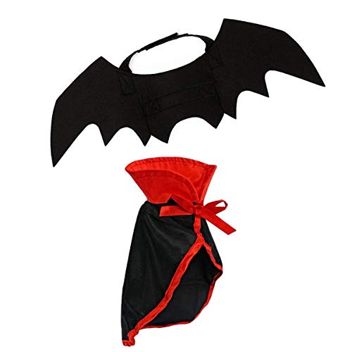 lcfun Cat Costume Halloween- Pet Cape & Bat Wings 2 PCS Small Dogs Kitten-Pet Clothes Cloak Christmas Holiday Cosplay -