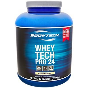 Whey Pro Banana - BodyTech Whey Tech Pro 24 Protein Powder Protein Enzyme Blend with BCAA's to Fuel Muscle Growth Recovery, Ideal for PostWorkout Muscle Building Banana Crème (5 Pound)