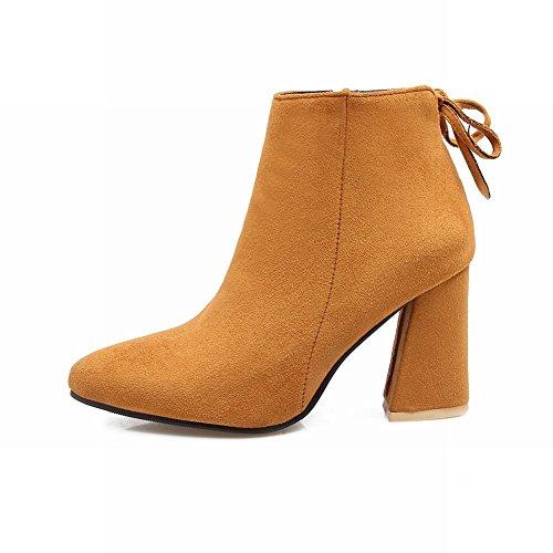 Zip Short Yellow Women's Charm Bow Block Elegant Heel High Carolbar Boots OaYPwSqg