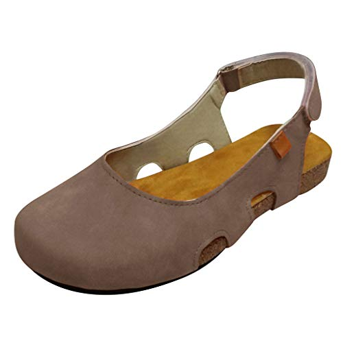 【MOHOLL 】 Womens Driving Flats Round Toe Breathable Casual Flat Shoes Exposed Hheel Beach Roman Sandals Beige