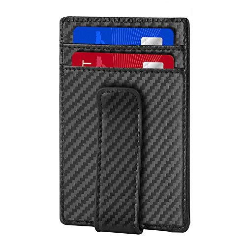 Upgraded Slim Money Clip, RFID Blocking Leather Mens Wallets, Minimalist Front Pocket Wallet Card Holder