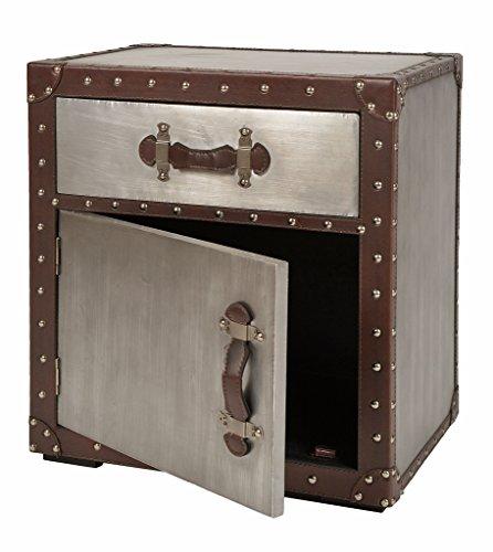 Kommode-Schrank-Regal-Truhe-Kiste-Aluminium-Industrie-Design-mit-Kunstleder-und-Nieten-Silber