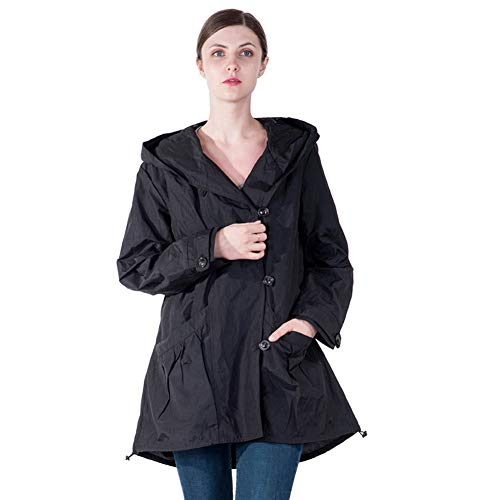 Infron IN FRONT Women Plus Size Elegant Hooded Single-Breasted Black Anorak Coat Spring/Fall Lightweight Windbreaker