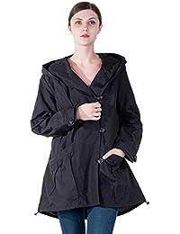 e5aaa4c71dd51 Women Plus Size Elegant Hooded Single-Breasted Anorak Coat Spring Fall  Lightweight Windbreaker
