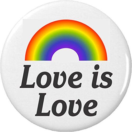 "Button Pinback Love (Love is Love Rainbow 1.25"" Pinback Button Pin LGBT Pride)"