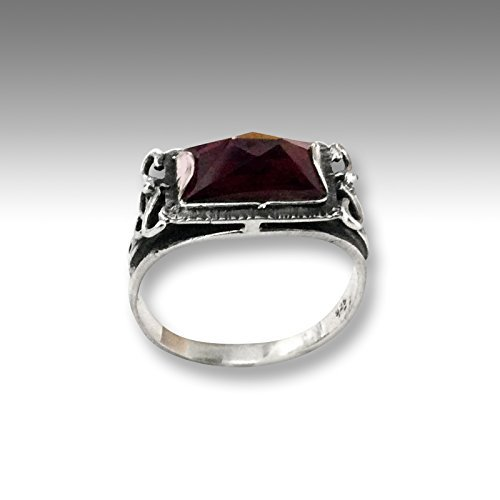 Sterling silver red garnet gemstone ring Rectangle stone ring - The sky is the limit R1400 ()