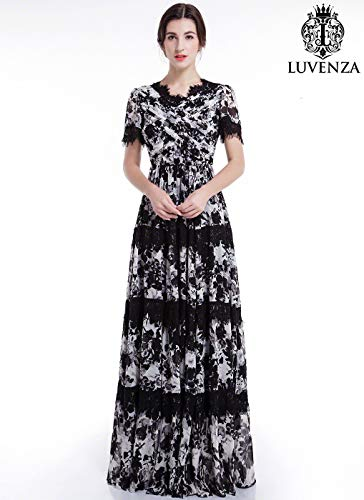 - Black and White Chiffon Maxi Length Evening Dress with Lace Accents, V Neck and Pleated Top