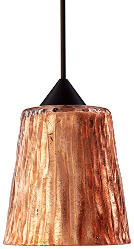 25CF-BR Nico 4 Collection 1-Light 12V Rail-Ready Mini-Pendant Element, Bronze Finish with Stone Copper Foil Art Glass (Copper Foil Bronze Mini Pendant)