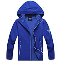C&X Boys and Girls Rain Jacket –Waterproof Jacket for Kids with Hood, Lightweight Lined Jacket,Best for Hiking and Camping