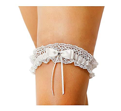 LR Bridal Ivory Bow Tie Ribbon Style Wedding Garter Set with Rhinestone (Ivory Single)