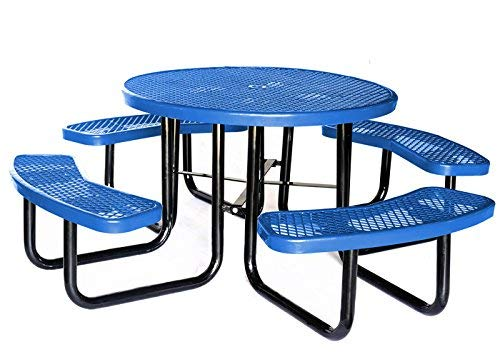 Lifeyard Deals of The Week! Additional 46″ Expanded Metal Round Picnic Table and Benches Steel Frame for Outdoor Furniture (Blue)