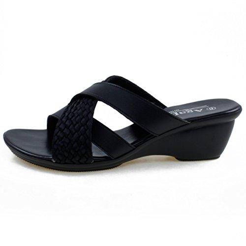 Agape HOLDING-46 Lightweight Crisscross Wedge Sandal Black 8.5 by Agape (Image #3)