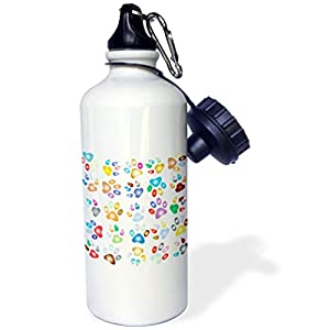 3dRose Cat and Dog Art - Image of Pastel Dow Paws Repeat Pattern - 21 oz Sports Water Bottle (wb_279891_1)