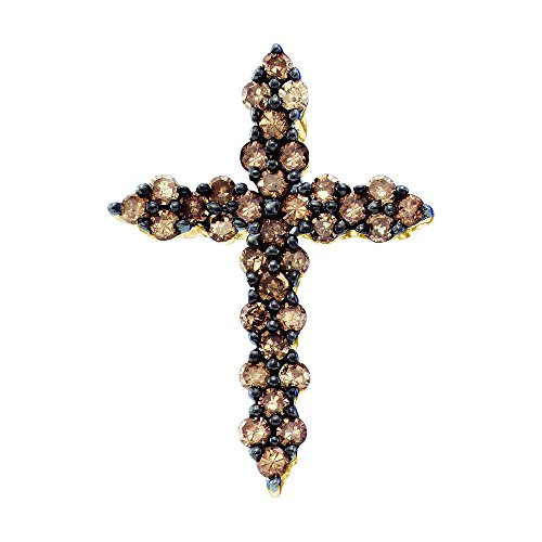 10kt Yellow Gold Womens Round Cognac-brown Colored Diamond Cross Pendant 1/2 Cttw
