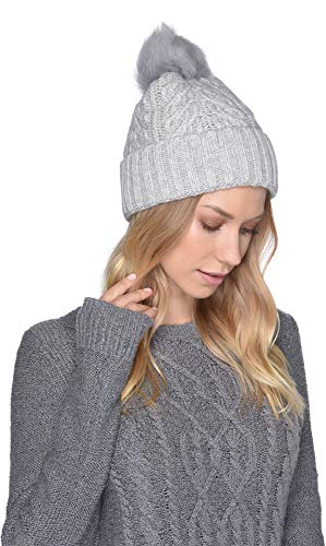 Ugg Shearling Hat - UGG Women's Cable Knit Pom Beanie Light Grey Heather One Size