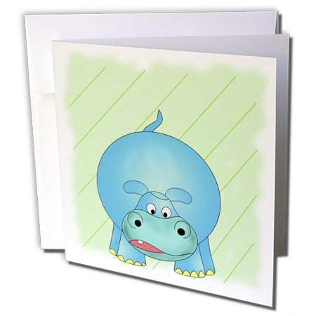(3dRose Cute cartoon of the zoo animal the baby Hippo ( hippopotamus ). - Greeting Cards, 6 x 6 inches, set of 12 (gc_51727_2))