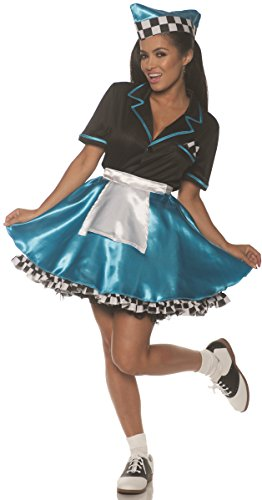 Underwraps Women's 1950s Car Hop Costume-Turquoise, Blue, X-Large ()